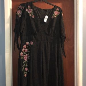 Black long dress with floral detail